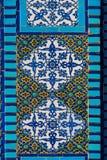 Islamic pattern, tile mosaic on mosque. Islamic pattern, Arabic tile mosaic on mosque. Dome of the Rock, Temple Mount, Jerusalem, Israel Stock Photo