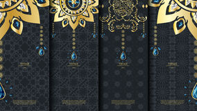 Islamic pattern element concept template with emerald vintage da Royalty Free Stock Photo