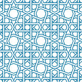 Islamic pattern vector. Seamless traditional. Eastern style. Blue line muslim ornament on white. For textile and wallpaper Stock Image