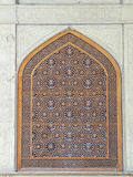 Islamic pattern woodern screen window in Chehel Sotoun (Sotoon) Royalty Free Stock Images