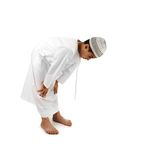 Islamic pray explanation full serie. Arabic child showing complete Muslim movemants while praying, salat. Please look for another 15 photos in my portfolio Stock Image