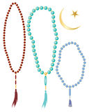 Islamic prayer beads. An illustration of islamic prayer beads in different colors with crescent moon symbol isolated on a white background Stock Photos