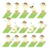 Islamic Prayer or Salat Guide for Kids Vector. Muslim boy perform prayer or salat steps. Islamic prayer or salat guide for children collection vector illustration