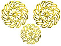 Islamic prayer symbols. Illustration of golden Islamic prayer signs isolated on white background Royalty Free Stock Photos