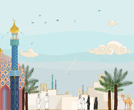 Islamic prayer time - Salah. High detailed vector illustration of islamic community going to the mosque for worship Stock Photos