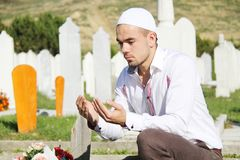 Islamic praying on dead person Stock Photo