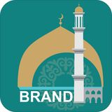 ISLAMIC PURPLE LOGO IN THE SQUARE. GREEN MINARET WITH HALF-MONTH. stock illustration