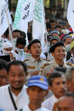 Islamic radical. Groups are doing a parade on the streets in the city of Solo, Central Java, Indonesia stock images