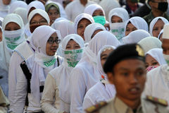 Islamic radical. Groups are doing a parade on the streets in the city of Solo, Central Java, Indonesia stock photography