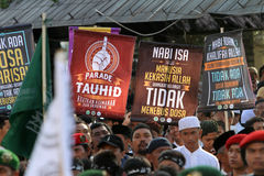 Islamic radical. Groups are doing a parade on the streets in the city of Solo, Central Java, Indonesia stock image