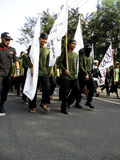 Islamic radical. Radical Islamic groups are planning anti communists on the streets in the city of Solo, Central Java, Indonesia stock image