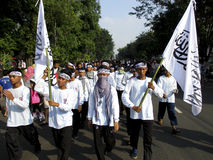 Islamic radical. Radical Islamic groups are planning anti communists on the streets in the city of Solo, Central Java, Indonesia royalty free stock image