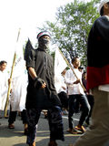 Islamic radical. Radical Islamic groups are planning anti communists on the streets in the city of Solo, Central Java, Indonesia stock images