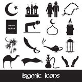 Islamic religion simple black icons set Stock Photography