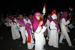 Islamic religious holiday. Muslim womens on parade during the celebration of Islamic religious holiday in the city of Solo, Central Java, Indonesia stock photo