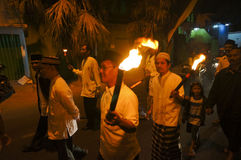 Islamic religious holiday. Muslims carry the torch while celebrating a religious holiday in the city of Solo, Central Java, Indonesia royalty free stock photography