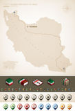Islamic Republic of Iran. Iran and Asia maps, plus extra set of isometric icons & cartography symbols set (part of the World Maps Set Stock Photography