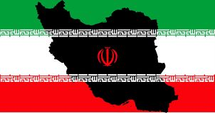 Islamic Republic of Iran with flag and map royalty free stock images