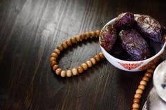 Islamic rosary and ramadan dates for iftar. Stock Photography