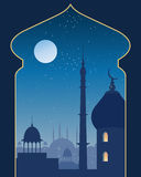 Islamic scene. An illustration of an islamic urban scene with mosque and asian architecture on a moonlit night viewed through a decorative archway vector illustration