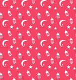 Islamic Seamless Pattern with Arabic Lamps, Crescents and Stars Stock Images