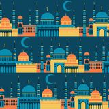 Islamic seamless pattern with mosques in flat Stock Images