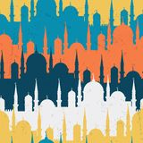 Islamic seamless pattern with mosques in flat Royalty Free Stock Image
