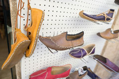 Islamic shoe shop. Leather shoes outside the store door,Istanbul Turkey Royalty Free Stock Photography