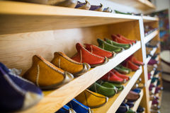 Islamic shoe shop. Leather shoes in the store,Istanbul Turkey royalty free stock image