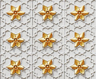 Islamic star pattern. Decorative ornamental golden Islamic star motif on a mosque wall royalty free stock photography