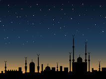 Islamic style vector background. Islamic vector background. Ancient eastern city silhouette over twilight sky Stock Image