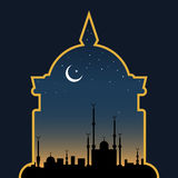 Islamic style vector background. Islamic vector background. Ancient eastern city silhouette over twilight sky Royalty Free Stock Photo