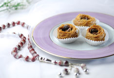 Islamic sweet. Fine quality Baklawa with muslim prayer beads. Ramadhan special food Royalty Free Stock Photography