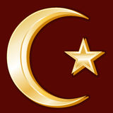 Islamic Symbol. Golden Crescent and Star symbol of Islam on a red background Royalty Free Stock Photography