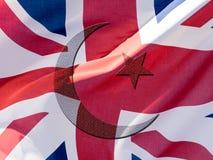 Islamic Symbol blended with Union Jack Flag stock images