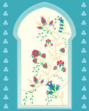 Islamic window. An illustration of a beautifully ornate islamic style window with abstract flower and foliage design in red blue and green with golden outlines Stock Photography