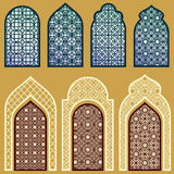 Islamic windows and doors with arabian art ornament pattern vector set. Window and door in islamic pattern style Royalty Free Stock Images