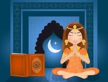 Islamic woman reads the Koran. Illustration of Islamic woman reads the Koran Royalty Free Stock Image