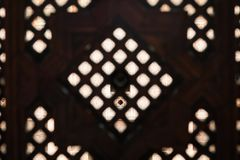 Islamic Wood Lattice Screen of a medersa dormitory royalty free stock photography