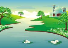 Islamische Karikatur mit Moschee und Fluss Stockbild