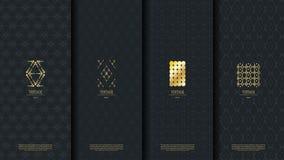 Islamische Musterelement-Konzeptschablone mit Goldweinleselogo Stockfotografie