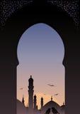 Islamische Skyline der arabischen Fensteransicht. Stockfotos