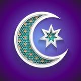 Islamischer Hintergrund für Ramadan - sichelförmige Ikone des Mondes 3d und des Sternes lizenzfreie abbildung