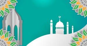 Islamisk bakgrund är tom herravälde för gradering för grön färg med attraktiva färglutningar stock illustrationer