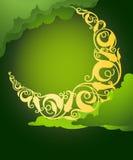 Islamisk blom- växande måne royaltyfri illustrationer