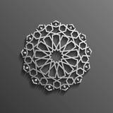Islamisk 3d på design för textur för muslim för mörk bakgrund för mandalarundaprydnad arkitektonisk Kan användas för broschyrer Arkivbild