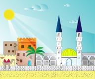 Islamisk färgrik cityscape med hus, moskén och minaret royaltyfri illustrationer