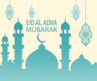 Islamisk festival av offret, Eid Al Adha Mubarak Greeting Card royaltyfri illustrationer