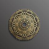 Islamisk guld 3d på design för textur för muslim för mörk bakgrund för mandalarundaprydnad arkitektonisk kan användas för Arkivfoton