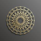 Islamisk guld 3d på design för textur för muslim för mörk bakgrund för mandalarundaprydnad arkitektonisk kan användas för Arkivbilder